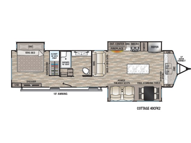 Cottage Park Trailer Model 40CFK2 by Forest River Floorplan