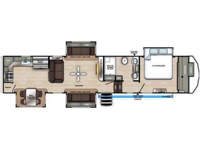 Sierra Fifth Wheel Model 39BARK by Forest River Floorplan