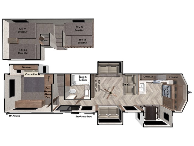 Salem Grand Villa Park Trailer Model 42FK by Forest River Floorplan
