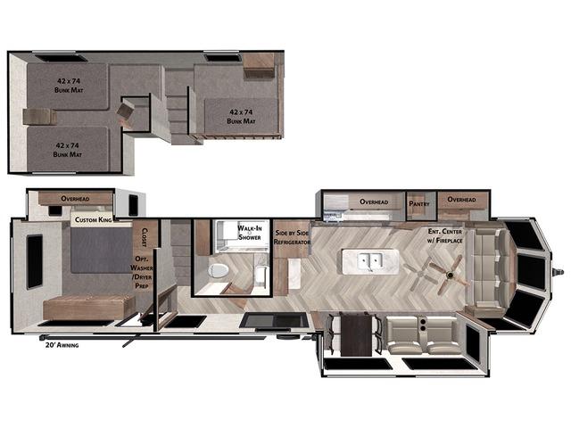Salem Grand Villa Park Trailer Model 42FLDL by Forest River Floorplan