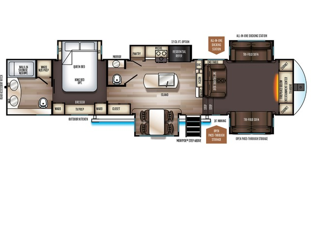 Sabre Fifth Wheel Model 37FLH by Forest River Floorplan