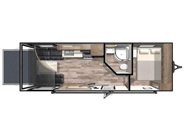 Hyper Lite Toy Hauler (Travel Trailer) Model 2414 by Forest River Floorplan