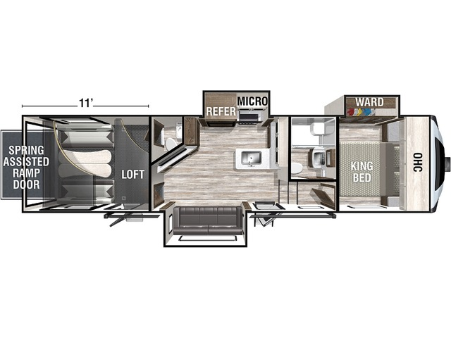 Nitro Toy Hauler (Fifth Wheel) Model 321 by Forest River Floorplan