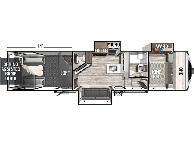 Nitro Toy Hauler (Fifth Wheel) Model 351 by Forest River Floorplan