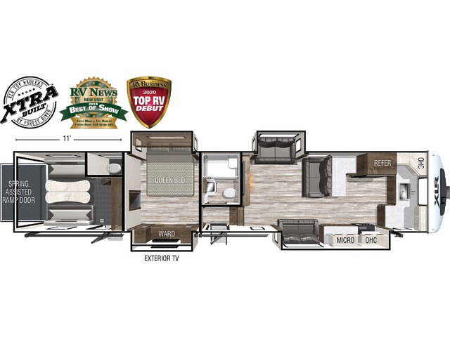 Nitro Toy Hauler (Fifth Wheel) Model 405 by Forest River Floorplan