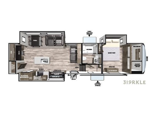 Cardinal Limited Fifth Wheel Model 319RKLE by Forest River Floorplan
