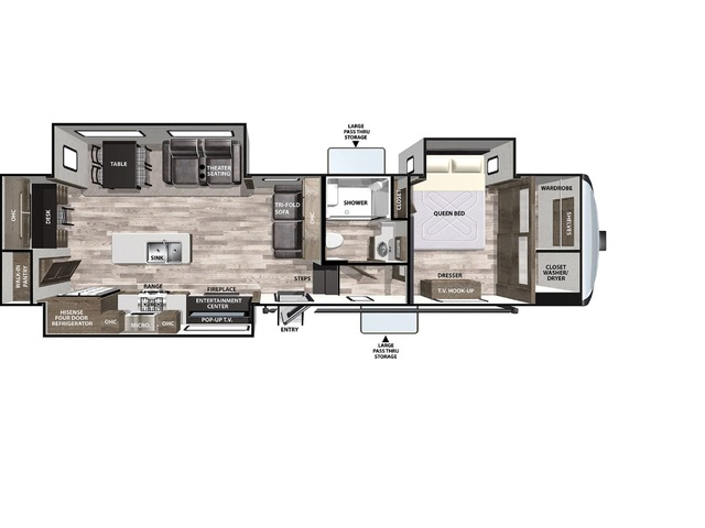 Cardinal Luxury Fifth Wheel Model 344SKX by Forest River Floorplan