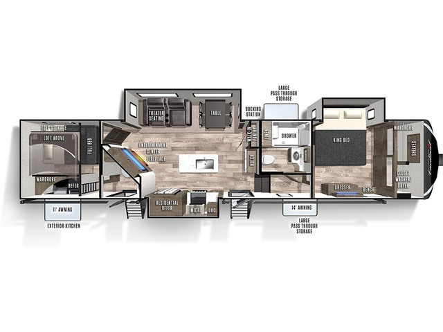 Cardinal Limited Fifth Wheel Model 352BHLE by Forest River Floorplan