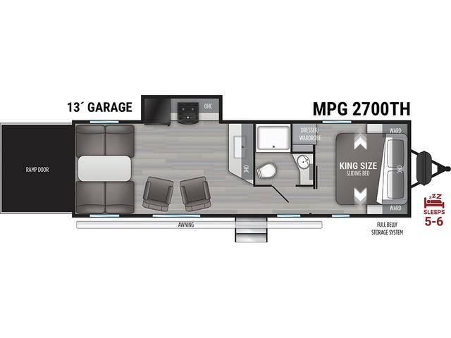 MPG Travel Trailer Model 2700TH by Cruiser RV Floorplan
