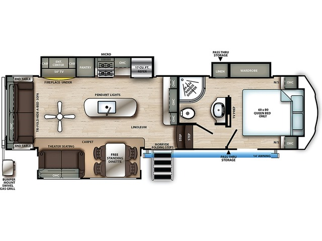 Sierra C-Class Fifth Wheel Model 2990TRIK by Forest River Floorplan