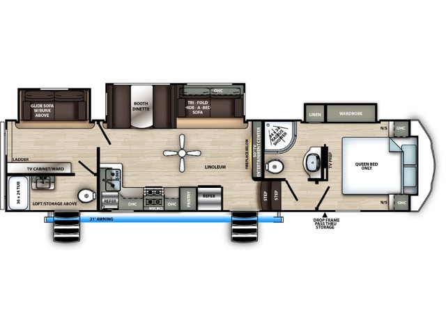 Sierra C-Class Fifth Wheel Model 3330BH by Forest River Floorplan