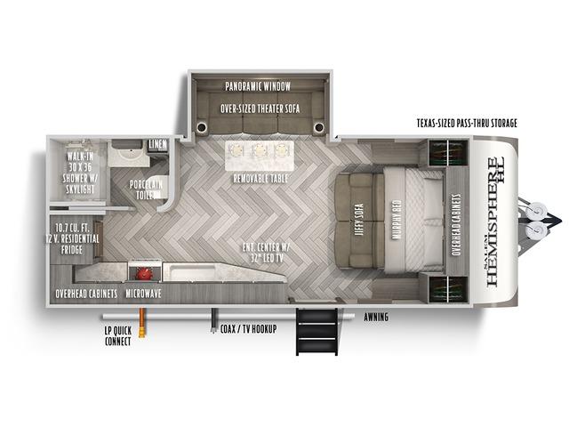 Hemisphere Hyper Lyte Travel Trailer Model 17RBHL by Forest River Floorplan