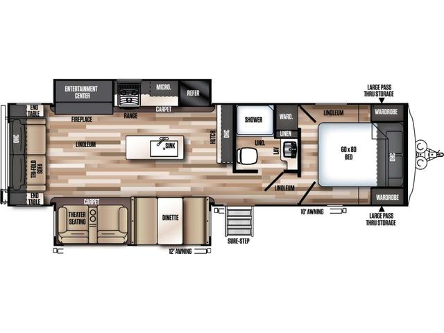 Hemisphere GLX Travel Trailer Model 271RL by Forest River Floorplan
