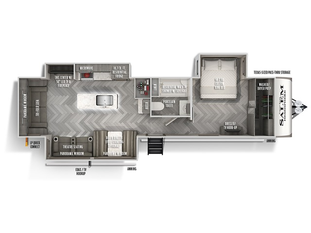 Hemisphere Travel Trailer Model 308RL by Forest River Floorplan