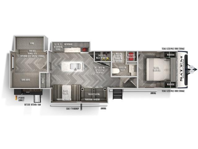 Hemisphere GLX Travel Trailer Model 310BHI by Forest River Floorplan