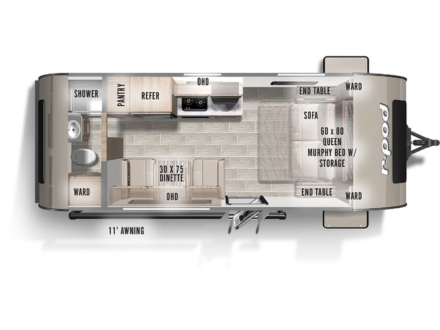 R-Pod Travel Trailer Model 192 by Forest River Floorplan