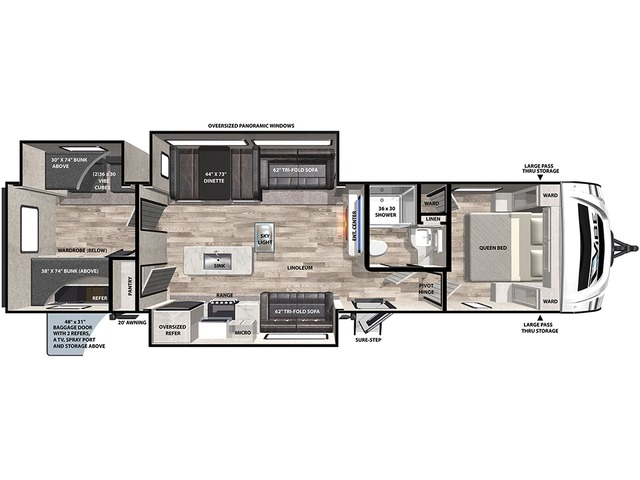 Vibe Travel Trailer Model 34BH by Forest River Floorplan