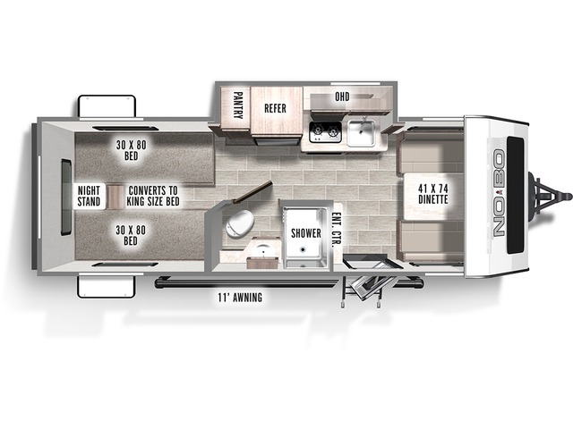 No Boundaries (NOBO) Travel Trailer Model NB16.2 by Forest River Floorplan