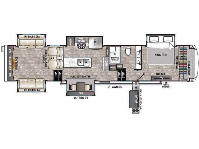 Cedar Creek Champagne Fifth Wheel Model 38ERD by Forest River Floorplan