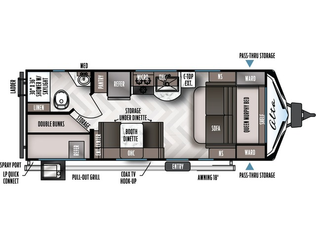 Alta Travel Trailer Model 2100MBH by East to West Floorplan