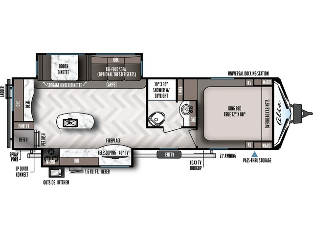 Alta Travel Trailer Model 2810KIK by East to West Floorplan