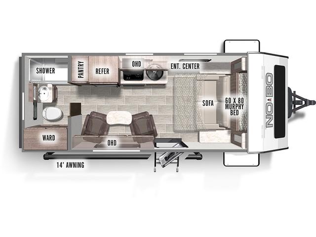 No Boundaries (NOBO) Travel Trailer Model NB19.2 by Forest River Floorplan