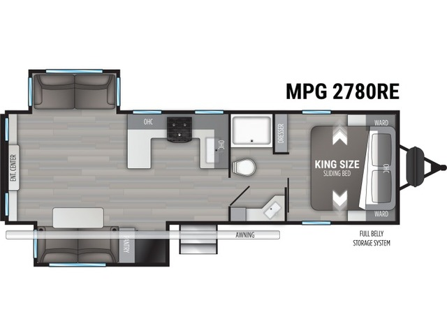 MPG Travel Trailer Model 2780RE by Cruiser RV Floorplan