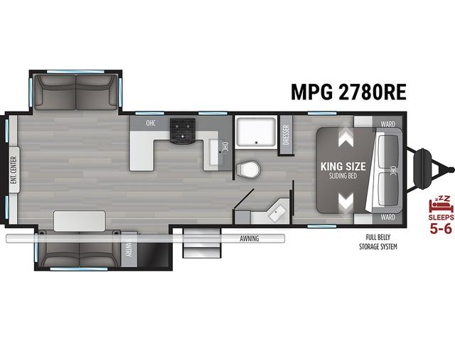 MPG Travel Trailer Model 2780RE by Cruiser RV Floorplan