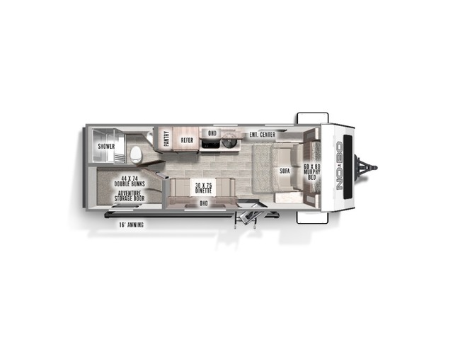 No Boundaries (NOBO) Travel Trailer Model NB19.3 by Forest River Floorplan