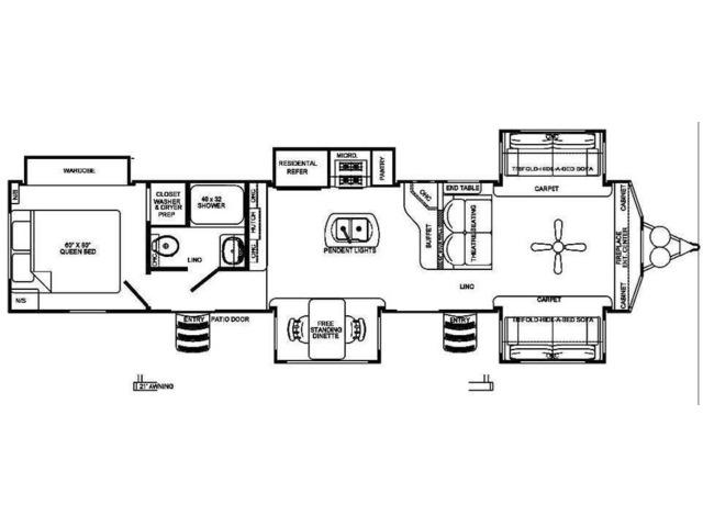 Sierra Park Trailer Model 420FL by Forest River Floorplan