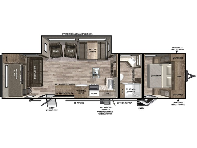 Vibe Travel Trailer Model 32MS by Forest River Floorplan