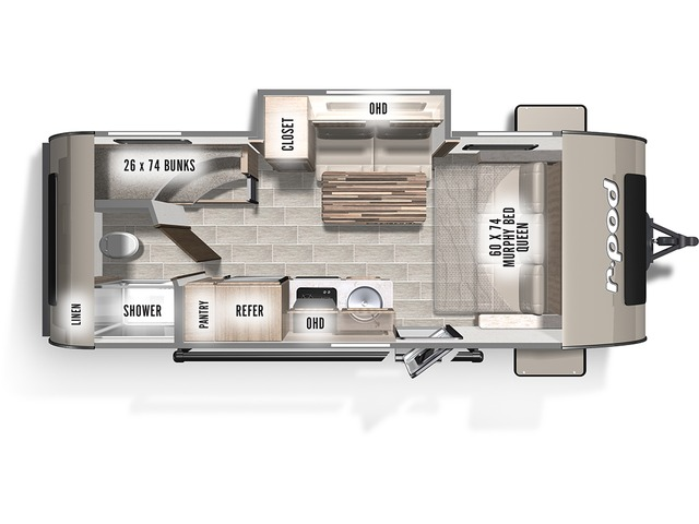 R-Pod Travel Trailer Model 193 by Forest River Floorplan