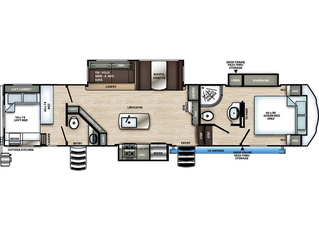 Sierra C-Class Fifth Wheel Model 3440BH by Forest River Floorplan