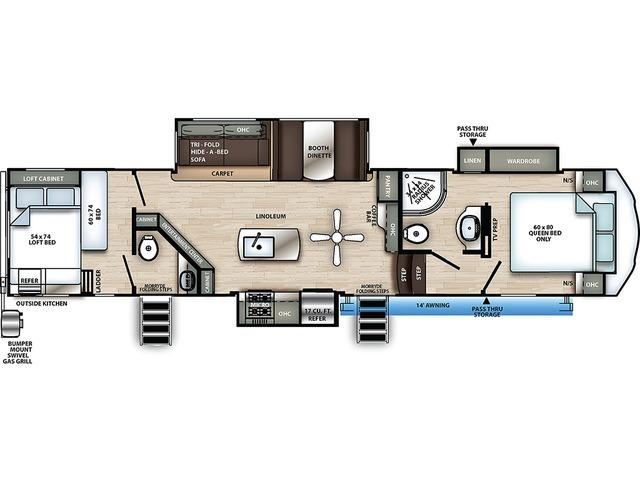 Sierra C-Class Fifth Wheel Model 3440BH by Forest River Floorplan