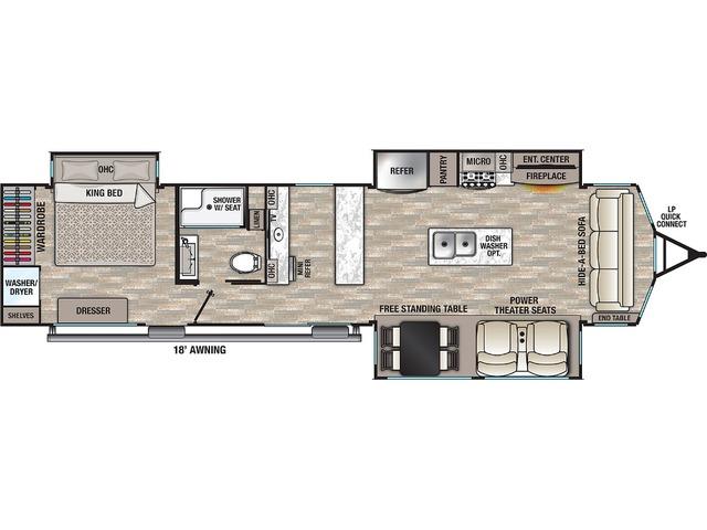 Cottage Park Trailer Model 40CBAR by Forest River Floorplan