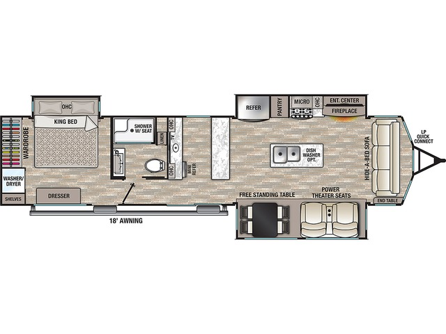 Cottage Park Trailer Model 40CBAR by Forest River Floorplan