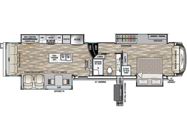 Cedar Creek Champagne Fifth Wheel Model 38EBS by Forest River Floorplan