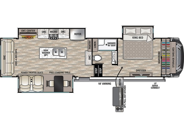 Cedar Creek Fifth Wheel Model 311RL by Forest River Floorplan