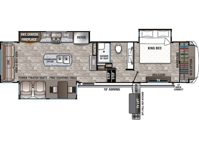 Cedar Creek Fifth Wheel Model 345IK by Forest River Floorplan