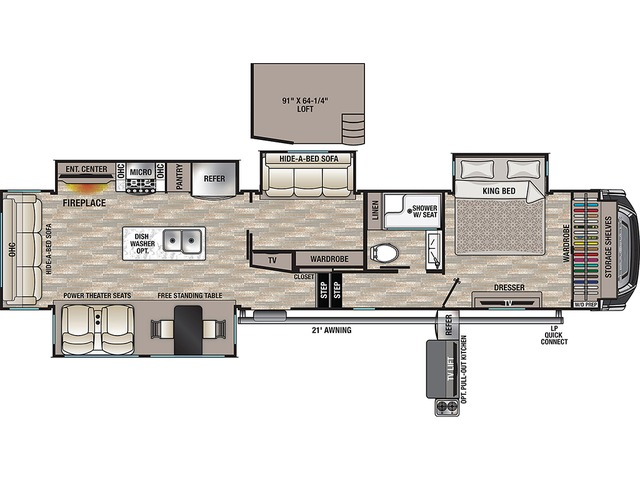 Cedar Creek Fifth Wheel Model 377BH by Forest River Floorplan
