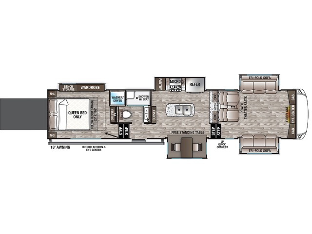 Cedar Creek Fifth Wheel Model 385TH by Forest River Floorplan