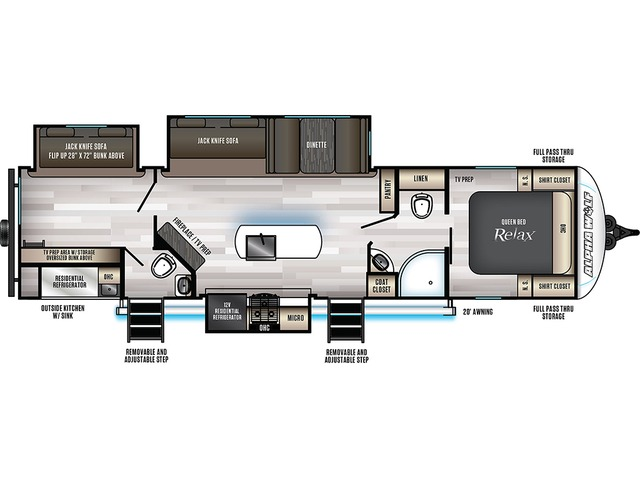 Alpha Wolf Travel Trailer Model 33BH-L by Forest River Floorplan