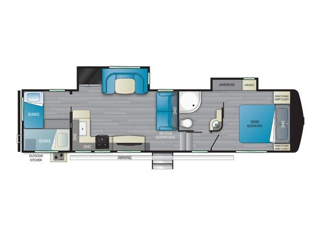 Elkridge Fifth Wheel Model 33BHS by Heartland Floorplan