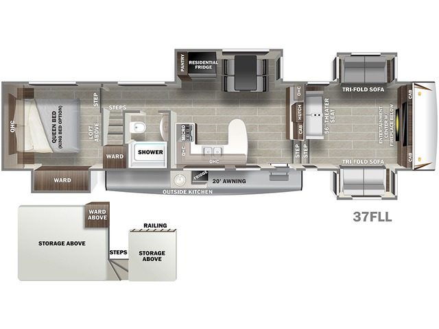 Sabre Fifth Wheel Model 37FLL by Forest River Floorplan
