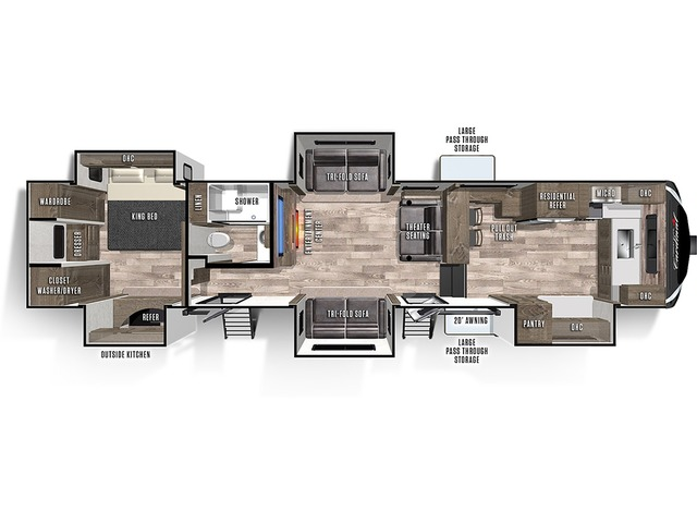 Cardinal Limited Fifth Wheel Model 403FKLE by Forest River Floorplan
