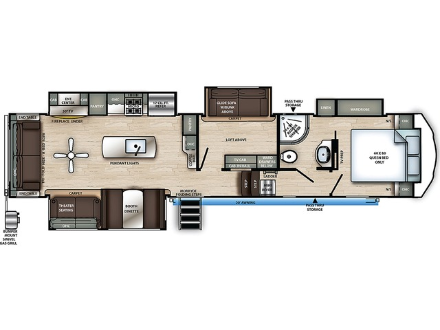 Sierra C-Class Fifth Wheel Model 3660MB by Forest River Floorplan