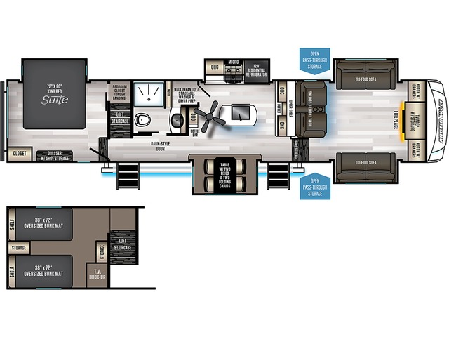 Arctic Wolf Fifth Wheel Model 3990SUITE by Forest River Floorplan