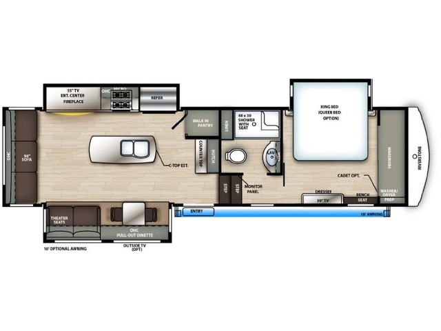 Riverstone Reserve Fifth Wheel Model 3410PMK by Forest River Floorplan