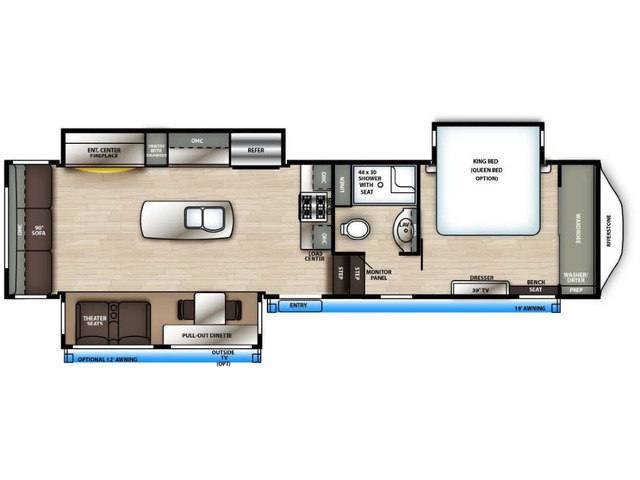 Riverstone Reserve Fifth Wheel Model 3670RL by Forest River Floorplan