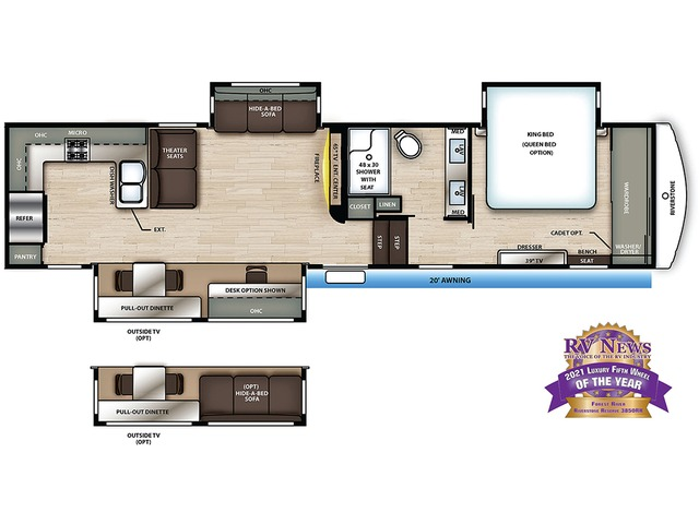 Riverstone Reserve Fifth Wheel Model 3850RK by Forest River Floorplan